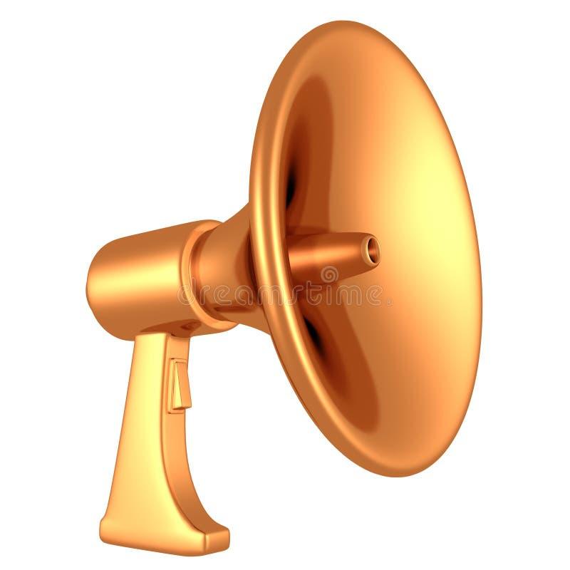 весточка мегафона громкоговорителя сигнала тревоги золотистая иллюстрация вектора