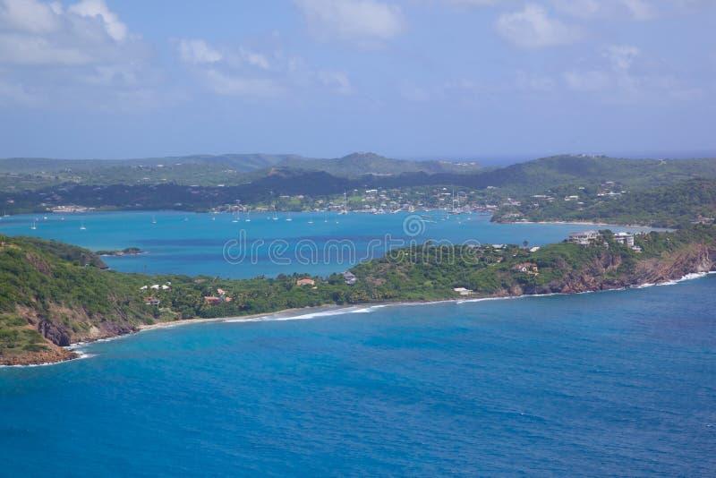 Вест-Индии, Вест-Инди, Антигуа, взгляд гавани Фолмута стоковое изображение rf