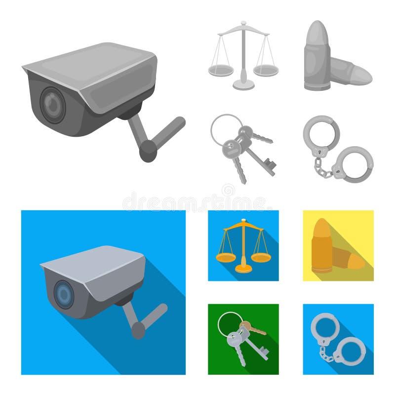 Весы правосудия, патроны, пук ключей, надевают наручники Значки собрания тюрьмы установленные в monochrome, плоском векторе стиля иллюстрация вектора