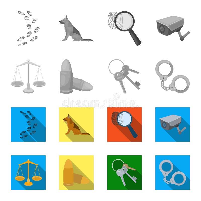 Весы правосудия, патроны, пук ключей, надевают наручники Значки собрания тюрьмы установленные в monochrome, плоском векторе стиля бесплатная иллюстрация