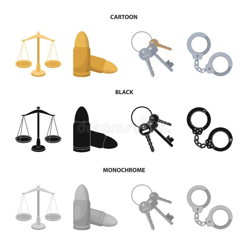 Весы правосудия, патроны, пук ключей, надевают наручники Значки собрания тюрьмы установленные в шарже, черноте, monochrome стиле бесплатная иллюстрация