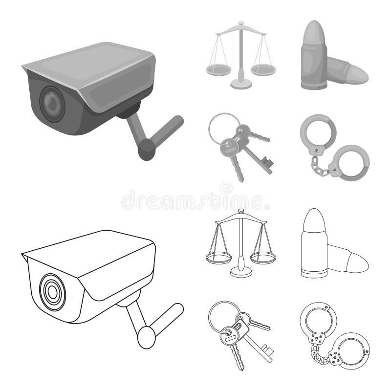 Весы правосудия, патроны, пук ключей, надевают наручники E иллюстрация вектора