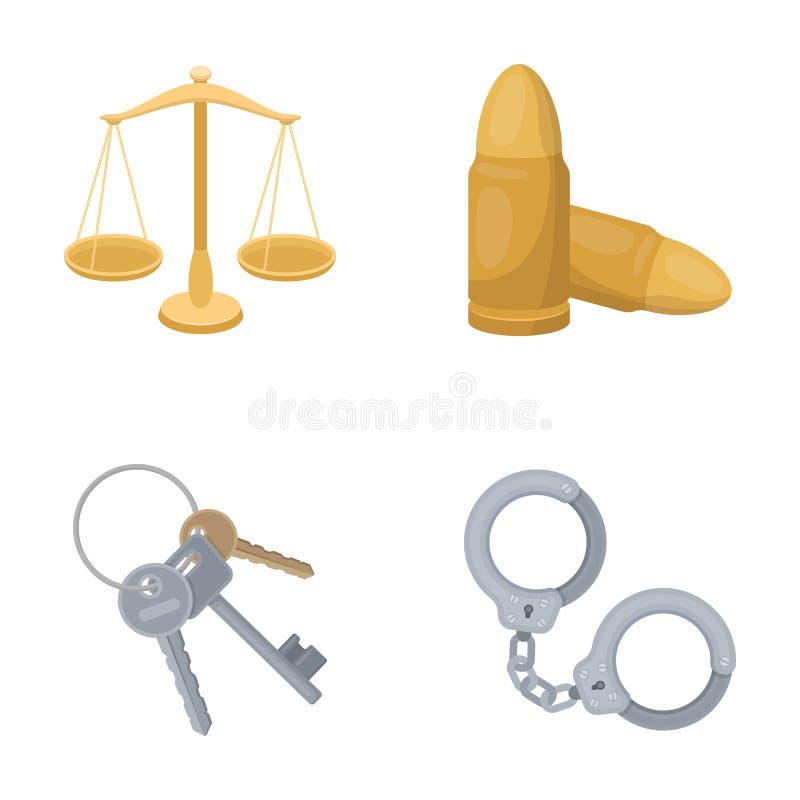 Весы правосудия, патроны, пук ключей, надевают наручники Значки собрания тюрьмы установленные в шарже вводят символ в моду вектор иллюстрация вектора