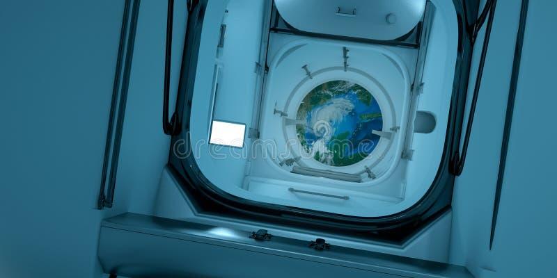 Весьма детальная и реалистическая высокая иллюстрация ИСС - интерьер разрешения 3D международной космической станции иллюстрация вектора