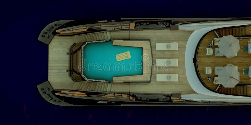 Весьма детальная и реалистическая высокая иллюстрация разрешения 3d роскошной мега яхты стоковое изображение