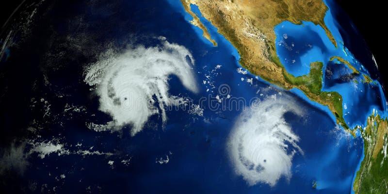 Весьма детальная и реалистическая высокая иллюстрация разрешения 3d урагана Барбара рядом со съемкой восточного побережья США от  бесплатная иллюстрация