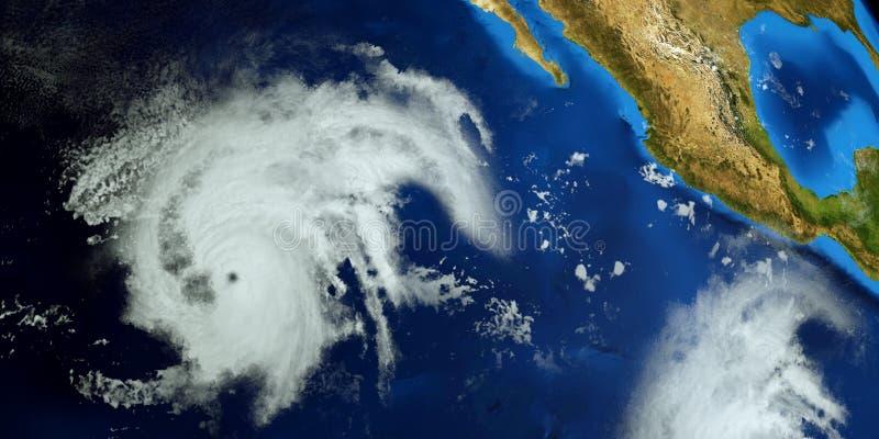 Весьма детальная и реалистическая высокая иллюстрация разрешения 3d урагана Барбара рядом со съемкой восточного побережья США от  иллюстрация вектора