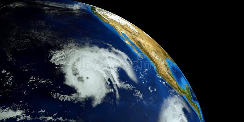 Весьма детальная и реалистическая высокая иллюстрация разрешения 3d урагана Барбара рядом со съемкой восточного побережья США от  иллюстрация штока