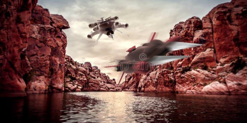 Весьма детальная и реалистическая высокая иллюстрация разрешения 3D 2 космических кораблей летая через каньоны на Exoplanet иллюстрация вектора