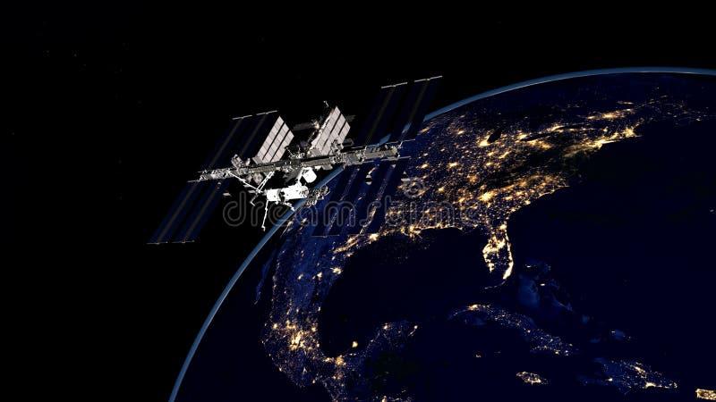 Весьма детальное и реалистическое высокое изображение ИСС - земля двигая по орбите разрешения 3D международной космической станци стоковое изображение
