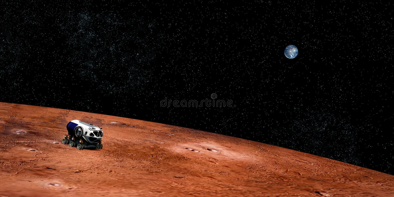 Весьма детальное и реалистическое высокое изображение разрешения 3D корабля космического исследования на Марсе Снятый от космичес стоковое фото