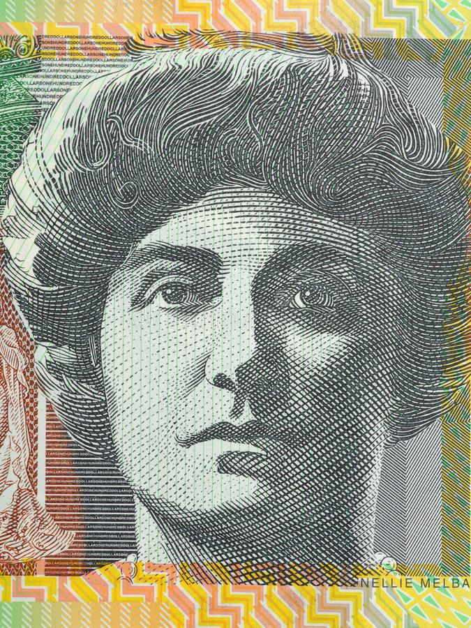 Весьма крупный план дамы Нелли Melba напечатал на долларовой банкноте австралийца 100 стоковые изображения