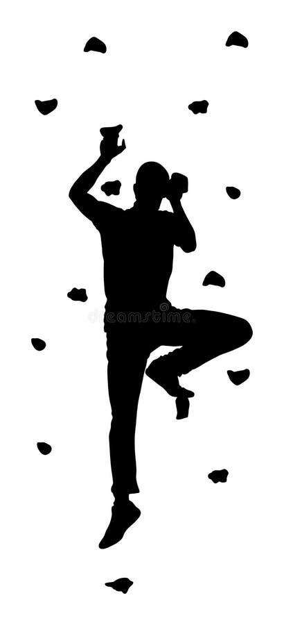 Весьма подъем спортсмена без веревочки Укомплектуйте личным составом взбираясь силуэт вектора, стену утеса для потехи иллюстрация вектора