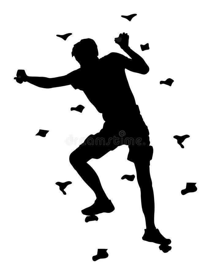 Весьма подъем спортсмена без веревочки Укомплектуйте личным составом взбираясь силуэт вектора, стену утеса для потехи бесплатная иллюстрация