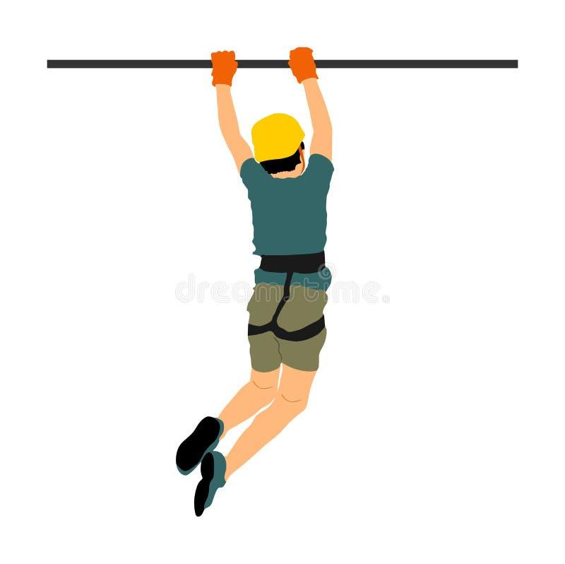 Весьма спортсмен принял вниз с веревочкой Иллюстрация вектора человека взбираясь иллюстрация вектора