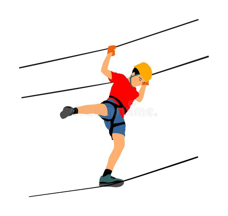 Весьма спортсмен принял вниз с веревочкой Иллюстрация вектора человека взбираясь иллюстрация штока