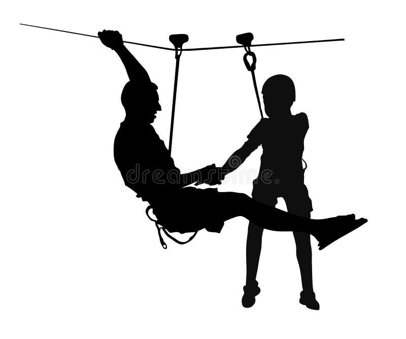 Весьма спортсмен принял вниз с веревочкой Силуэт человека взбираясь бесплатная иллюстрация