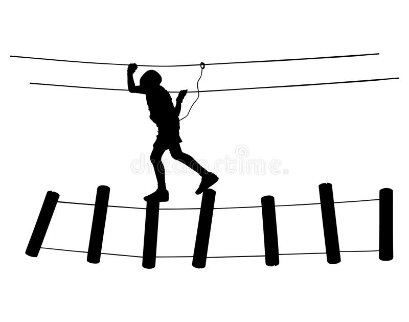 Весьма спортсмен принял вниз с веревочкой Силуэт человека взбираясь иллюстрация вектора
