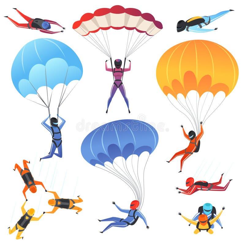 Весьма спорт парашюта Характеры адреналина скача парапланеризм и skydiving изображение вектора аэродинамики мухы иллюстрация вектора