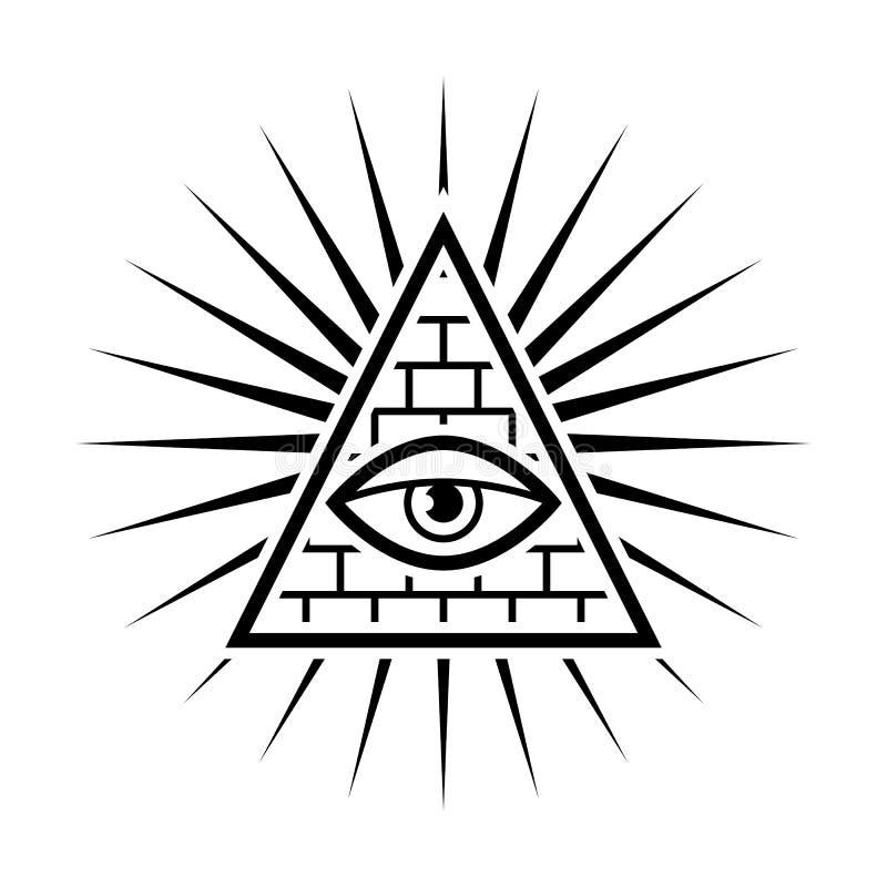 весь видеть глаза Каменщики знака Белая предпосылка бесплатная иллюстрация