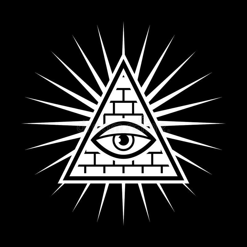 весь видеть глаза Каменщики знака Черная предпосылка иллюстрация вектора