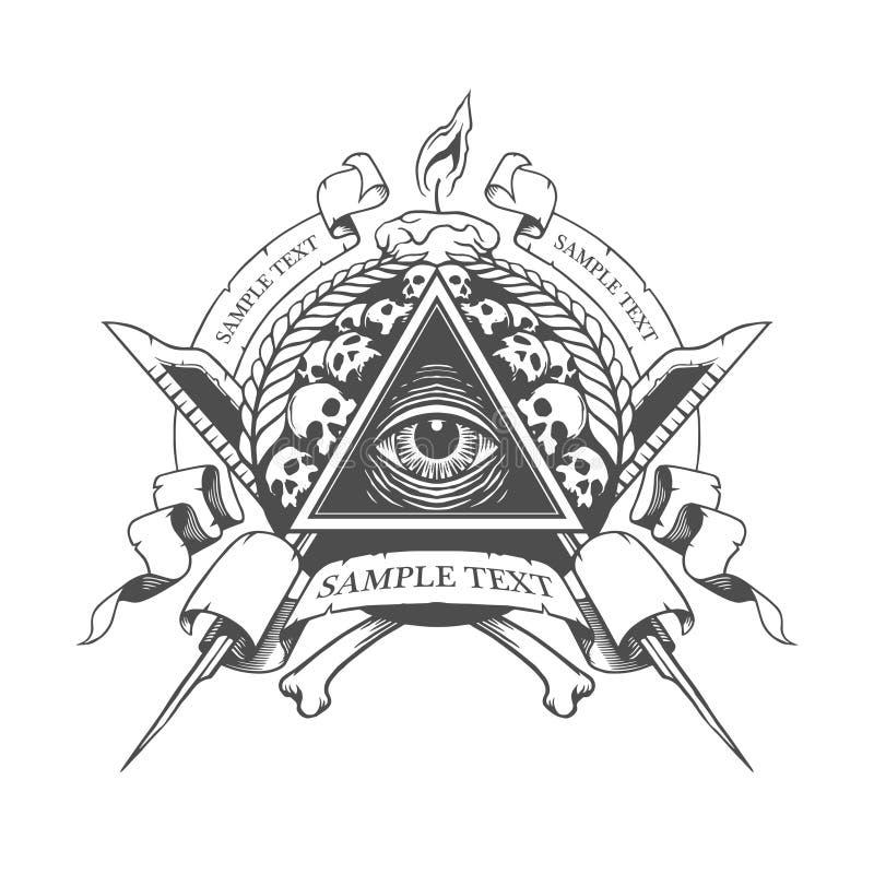 весь видеть глаза Мистическое оккультное эзотерическое иллюстрация штока