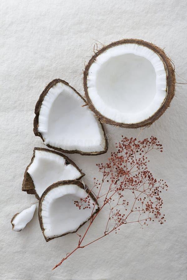 Весь сырцовый кокос треснул открытое и vieed сверху стоковое изображение rf