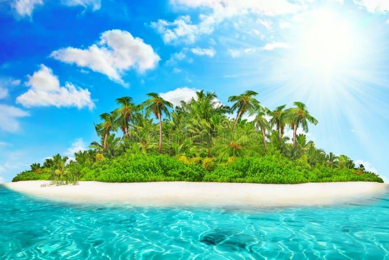 Весь тропический остров внутри атолл в тропическом океане стоковые изображения