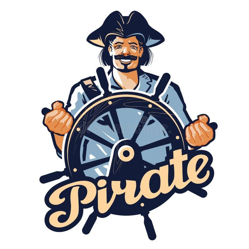 Весёлый пират у руля корабля также вектор иллюстрации притяжки corel бесплатная иллюстрация