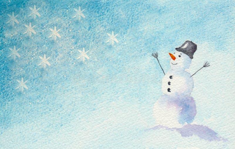 весёлый снеговик иллюстрация вектора