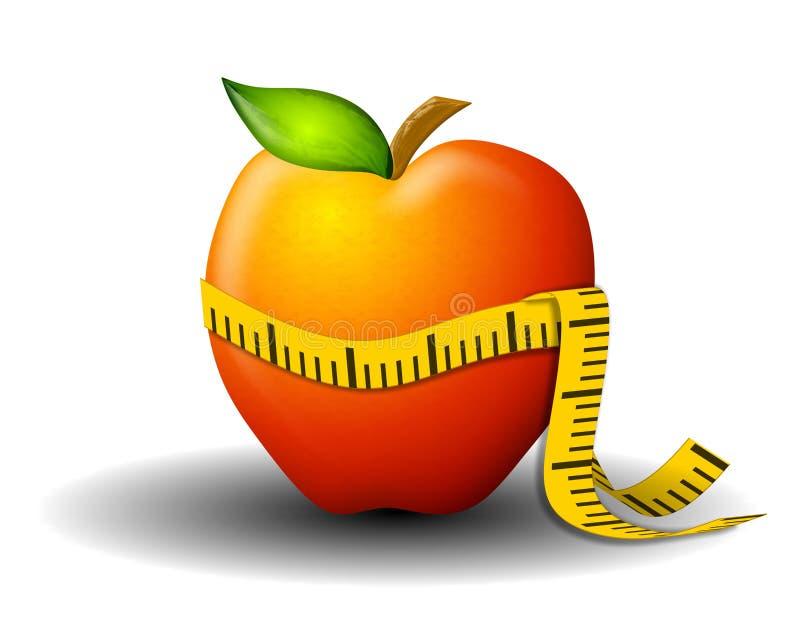 вес ленты потери яблока измеряя иллюстрация штока