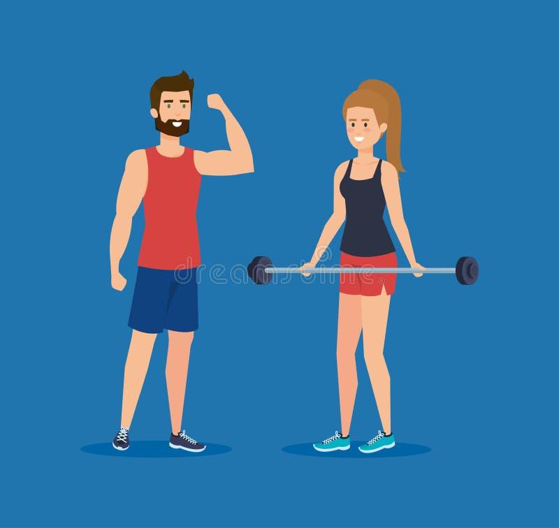 Вес сильных пар поднимаясь иллюстрация штока