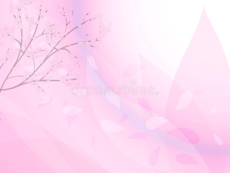 Ветви вишневых цветов и лепестков летая в ветер иллюстрация вектора