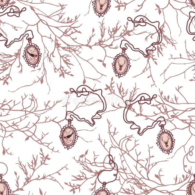 Ветви дерева Брайна чуть-чуть и PA вектора цепных медальонов безшовное бесплатная иллюстрация