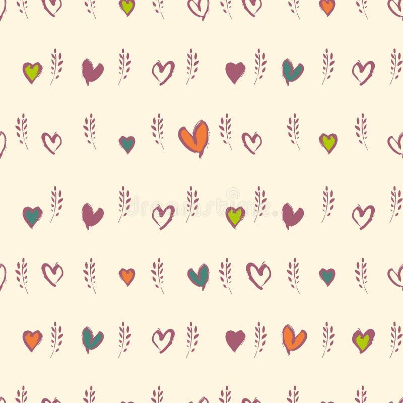Ветви и сердца весны картины романтичных графиков руки вычерченных безшовные иллюстрация вектора