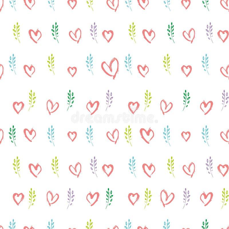 Ветви и сердца весны картины романтичных графиков руки вычерченных безшовные иллюстрация штока