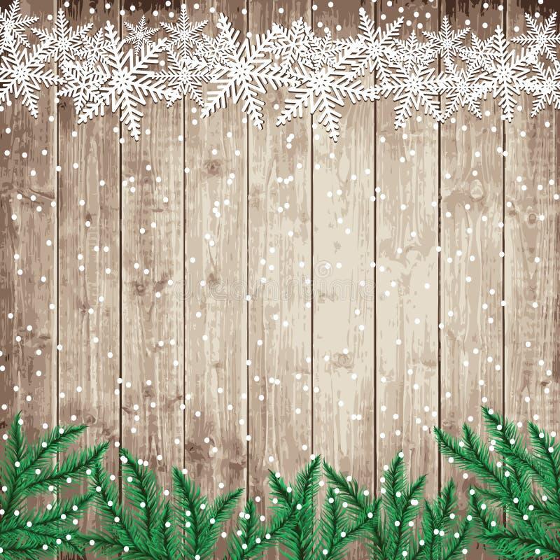 Ветви и снежинки ели на деревянной доске иллюстрация штока