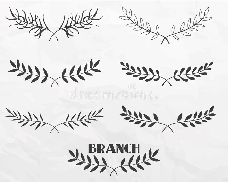 Ветви нарисованные рукой иллюстрация штока
