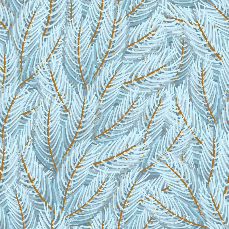 Ветви рождественской елки белые делают по образцу безшовное дополнительный xmas формы предпосылки иллюстрация штока