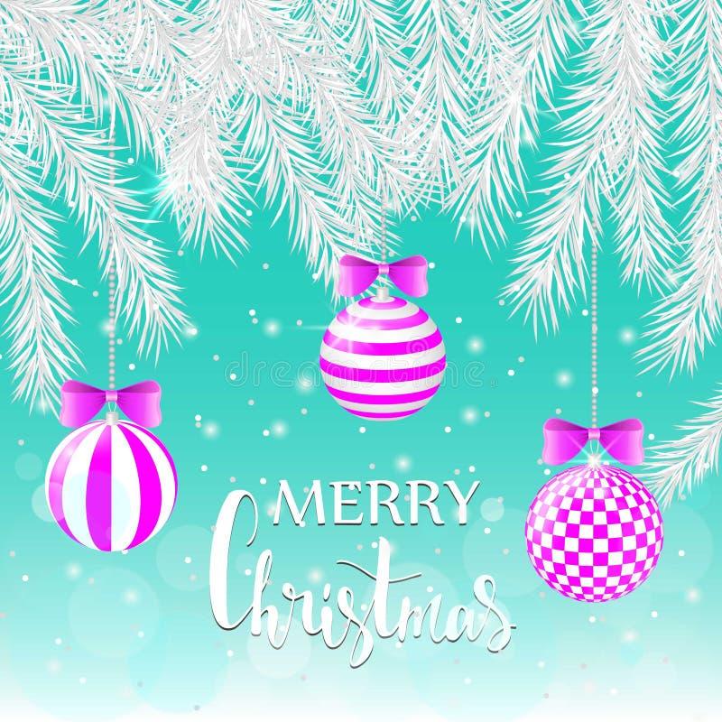 Ветви серебряного спруса на голубой предпосылке Розовые шарики с геометрической картиной небо klaus santa заморозка рождества кар иллюстрация штока