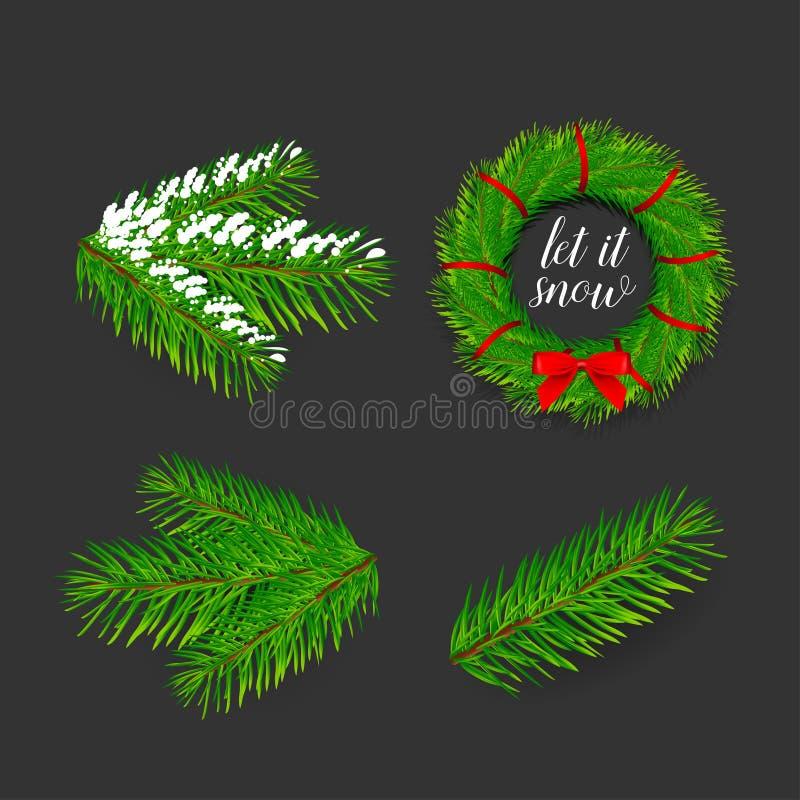 Ветви сосны на украшения рождества и Нового Года 4 значка установили знамя состава венок рождества смычка красный иллюстрация штока