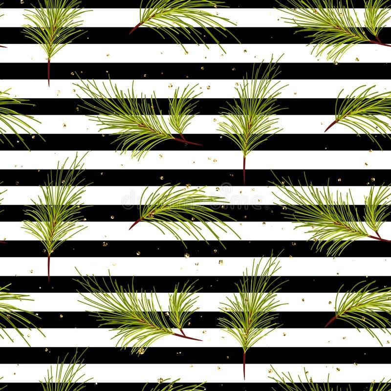 Ветви сосны на черной striped картине предпосылки иллюстрация штока