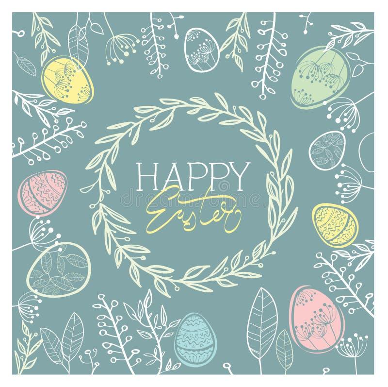 Ветви счастливой руки состава пасхальных яя вычерченные, цветки, венок также вектор иллюстрации притяжки corel иллюстрация штока