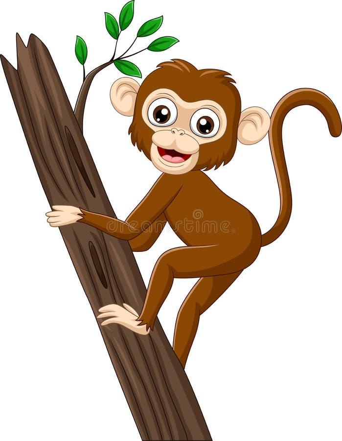 Ветвь дерева обезьяны младенца мультфильма взбираясь иллюстрация штока