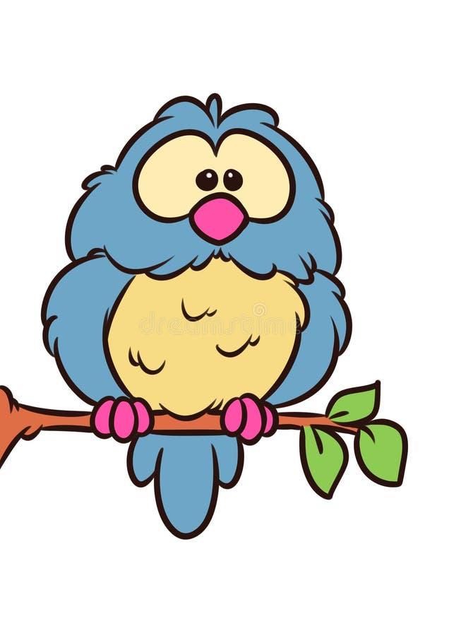 Ветвь дерева птицы сыча сидит животная иллюстрация мультфильма характера иллюстрация штока