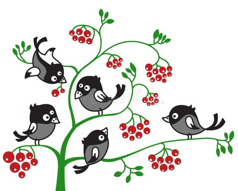 ветвь птиц иллюстрация вектора
