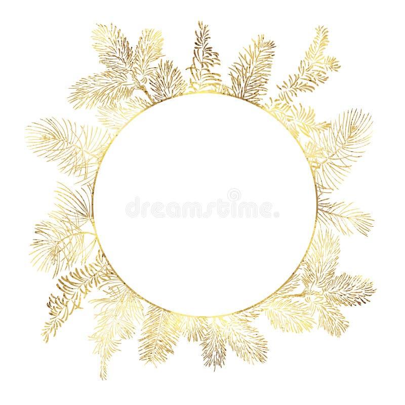 Ветвь рождества вектора золотая в круге на белой предпосылке иллюстрация штока
