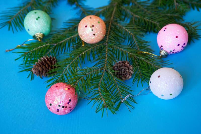 Ветвь рождественской елки, конусов и красочных шариков на голубой предпосылке Конец-вверх С Рождеством Христовым и с новым годом стоковое фото rf