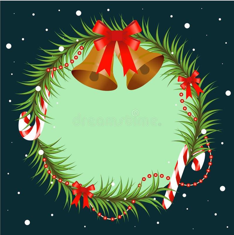 Ветвь рождественской елки украшенная с колоколами и красным смычком Круглая рамка с космосом экземпляра, элементом дизайна для дл иллюстрация штока