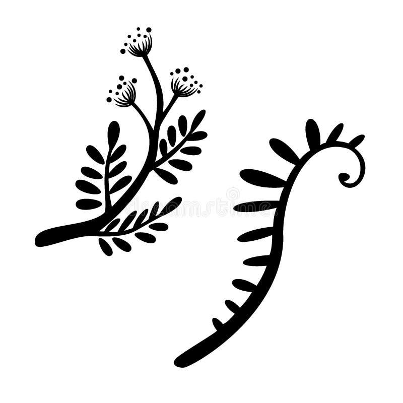 Ветвь установила флористическую иллюстрацию вектора Черные линии на белой предпосылке Простые значки бесплатная иллюстрация